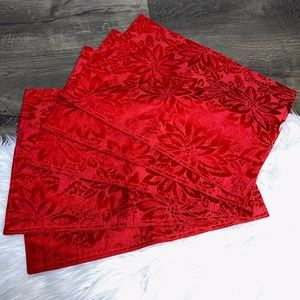 Other - Holiday Poinsettia Monochromatic Red Placemats 5